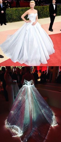 Designed by Zac Posen, Clare Danes' gown made of fiber optic fabric glowed in the dark.