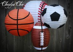 DIY project- Sport balls for sport themed baby shower/party. Buy plain lanterns and glue pieces to turn them into different sports Sports Themed Birthday Party, Ball Birthday, Birthday Balloons, 2nd Birthday Parties, Birthday Ideas, Shower Party, Baby Shower Parties, Baby Shower Themes, Baby Boy Shower