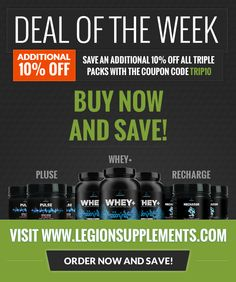 Now is the perfect time to stock up on your favorite Legion products!  http://legionsupplements.com/products/  P.S. That's 20% off MSRP for the next 7 days, don't miss out on the chance to save!