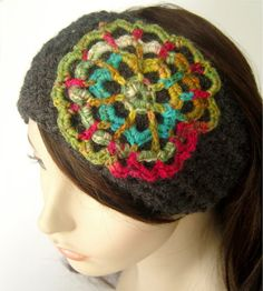 Mandala Flower Earwarmer Headband  Rainbow and by LoveFuzz on Etsy, $26.00
