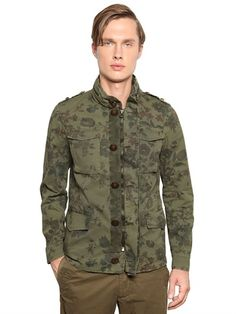 CORTO MALTESE - FLORAL COTTON GABARDINE FIELD JACKET