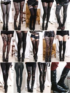 Wears different pairs of these tights with her combat dresses.