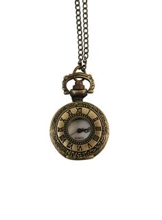 Ladies Watch Pendant - Antique Brass Inscribed Numerals