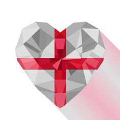 Illustration of Vector crystal gem jewelry English heart with The flag of England. Flat style logo symbol of love England. vector art, clipart and stock vectors. St George Flag, George Cross, Saint George, St George's Cross, St Georges Day, Flat Style, Banner Printing, Love Symbols, Gems Jewelry