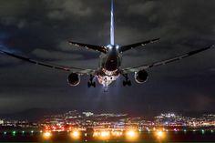 Boeing 787 landing at Night