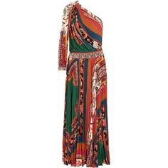Etro One-shoulder printed crepe de chine maxi dress ($2,755) ❤ liked on Polyvore featuring dresses, etro, floral fit-and-flare dresses, floral print maxi dress, embroidered dress, floral embroidery dress and colorful maxi dress