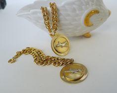 Vintage Jet Plane Charm Bracelet, Airplane Circle Medallion Jewelry, Commemorative Travel Jewelry Charm Bracelet, Children's Airplane Charm - pinned by pin4etsy.com