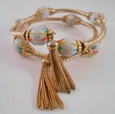 Memory Wire Bracelet Painted Wood Beads by Libbysmomsvintage