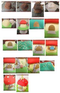 gomba házikó torta készítése képekben