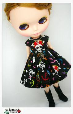 LADYBIRD HOUSE Blythe Outfit Black Punk Dress. $20.00, via Etsy.