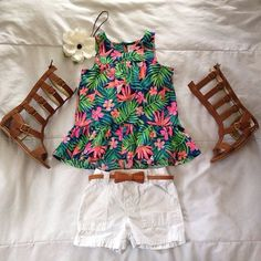 I love the outfit for little girls! but  I would love it even more if the shoes were simple brown sandals.
