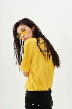 JULIELINGMA ∙ Yellow Sunglasses, Big Yellow T-Shirt, Black Jeans, Asian, Long Hair, Streetwear, Atheleisure