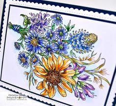 Pure Prairie Bouquet stamp set by Power Poppy, card design by Christine Okken.