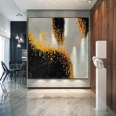 Black Gold Handmade painting Canvas painting abstract art image 2
