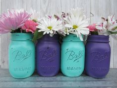 Mermaid/Under The Sea-Painted Ball Mason Jars-Flower Vases- Deep/Dark Purple/Plum and Seafoam/Mint/Turquoise/Aqua -/Baby Shower/Centerpieces #babyshowerideas4u #birthdayparty #babyshowerdecorations #bridalshower #bridalshowerideas #babyshowergames #bridalshowergame #bridalshowerfavors #bridalshowercakes #babyshowerfavors #babyshowercakes