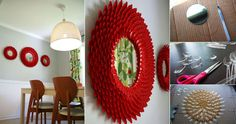 DIY Plastic Spoon Chrysanthemum Mirror I am definitely making one for my Sister-in-law who just got her own place and of course, one for me...