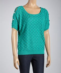 Look at this #zulilyfind! Green Pointelle Button-Sleeve Sweater #zulilyfinds