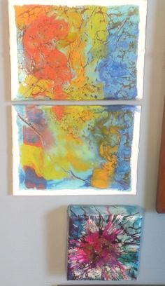 Encaustic, alcohol inks with shellac burn