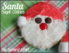 Six Sisters Santa Sugar Cookies on MyRecipeMagic.com are so easy. Just need a circle cookie cutter or use a round glass! These are super cute for parties!
