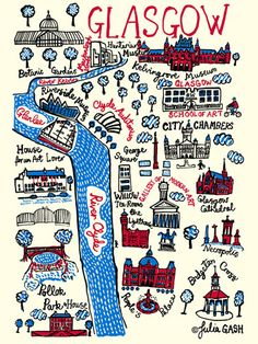 Glasgow by Julia Gash - art print from King & McGaw