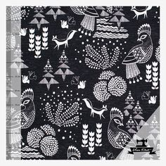Sielulintu (musta/valkea trikoo) pellavaefektipohja | Verson Puoti Fabrics, Quilts, Blanket, Art, Tejidos, Art Background, Quilt Sets, Kunst, Blankets