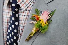 mixed boutonniere /// photo by Sweet Monday Photography, flowers by Peacock Blooms Floral Design // View more: http://ruffledblog.com/late-summer-citrus-inspiration/