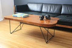 Vintage Mid Century Wood Slab Coffee Table Diy