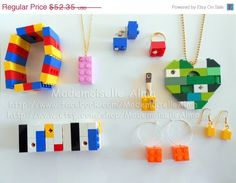 ON SALE Lot of 15 pieces of Jewelry made from by MademoiselleAlma #MademoiselleAlma #LEGO #ETSY