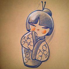 #scketch #pancilblue #fab10 #ilovetattoos #kokeshi #bozzatattoo #tattoo #tattoojapan #esercitazione #sfumature