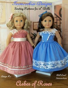 "PDF Sewing Pattern / Ashes of Roses / for American Girl or Other 18"" Dolls"