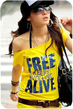 Yellow Fashion Printed T-Shirt Korean Style
