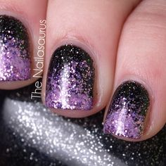 black and purple glittery nails for Halloween