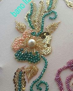 This Pin was discovered by LaL Zardozi Embroidery, Kurti Embroidery Design, Tambour Embroidery, Couture Embroidery, Embroidery Fashion, Ribbon Embroidery, Bead Embroidery Tutorial, Bead Embroidery Patterns, Hand Embroidery Stitches