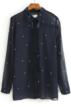 To find out about the Navy Long Sleeve Rhinestone Sheer Chiffon Blouse at SHEIN, part of our latest Blouses ready to shop online today! Fall Outfits, Fashion Outfits, Fashion Clothes, Fashion Ideas, Women's Fashion, Chiffon Shirt, Sheer Chiffon, Shirt Blouses, Shirts