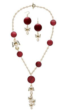 Single-Strand Necklace and Earring Set with Acrylic Beads, Glass Pearl Beads and Antiqued Gold-Plated Pewter Beads