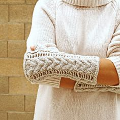 Knit arm warmers oatmeal romantic lace by socksandmittens on Etsy