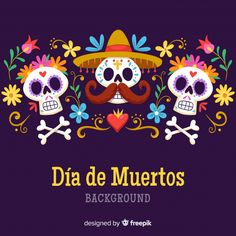 Discover thousands of copyright-free vectors. Graphic resources for personal and commercial use. Thousands of new files uploaded daily. Pintura Sugar Skull, Sugar Skull Painting, Sugar Skull Art, Disney Halloween, Happy Halloween, Los Muertos Tattoo, Day Of The Dead Party, Colorful Skulls, Mexican Folk Art
