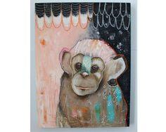 Original Monkey painting whimsical boho mixed by thesecrethermit