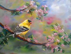 Goldfinch in Acrylics by Marion Dutton.... Available now only on ArtTutor.com