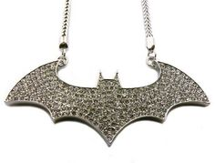 """Iced Out Hip Hop Batman Logo Pendant with 4mm 36"""" Franco Chain Necklace Silver NYfashion101inc. $34.99. Save 24% Off!"""