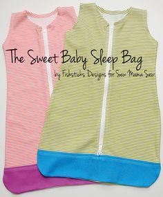 The Sweet Baby Sleep Bag Pattern at Sew Mama Sew | Fishsticks Designs Blog (Free Downloadable Pattern for a Newborn Sleepsack)