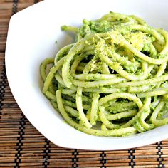 Pasta with creamy avocado sauce with lemon or lime and basil infusion. Serve warm or chilled as pasta salad.