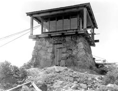 Gardner Fire Lookout.  The 1920th built this tower between 1935 and 1936. It is still an active Marin County Fire Department lookout. As you view the sturdy stone, wood and steel tower perched on the peak. http://www.parks.ca.gov/?page_id=25060.  Video of the tower in use ... http://vimeo.com/48169212