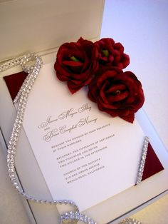 """""""Grandeur"""" Luxurious silk box and silk panel invitation.  Floral and rhinestone accents by Embellishments Invitations xo"""