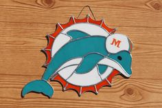Dolphins NFL Team Logo Stained Glass by SeacoastGlassWorks on Etsy