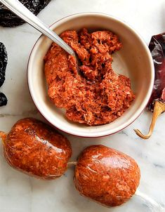 """I used to have such """"food envy"""" about Mexican Chorizo. That's when I learned to make Homemade Chorizo, and making it at home is so much fresher - plus it can be customized. It will blow you away! Homemade Chorizo, Homemade Sausage Recipes, Chorizo Recipes, Pork Recipes, Cooking Recipes, Homemade Breads, Tostada Recipes, Cooking Bacon, Recipes"""