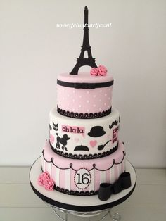 Pink Black Paris Cake