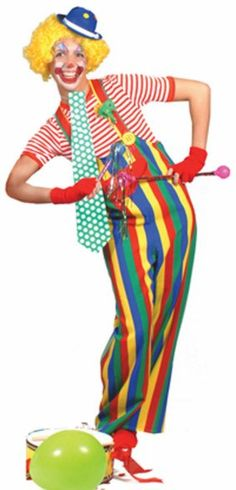 Adult Striped Clown Circus Costume Coveralls,$28.76