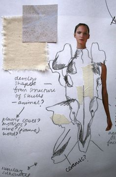 Creative Fashion Sketchbook page with drawing annotation and fabric samples - the fashion design process // Connie Blackaller Sketchbook Layout, Textiles Sketchbook, Fashion Design Sketchbook, Fashion Design Portfolio, Sketchbook Pages, Fashion Sketches, Mode Collage, Fashion Collage, Fashion Art