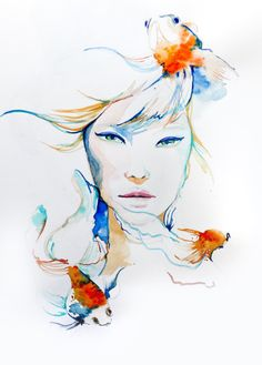 Title: Swimming with the Fishes, Original illustration by Arty Guava. #illustration #watercolor #girl